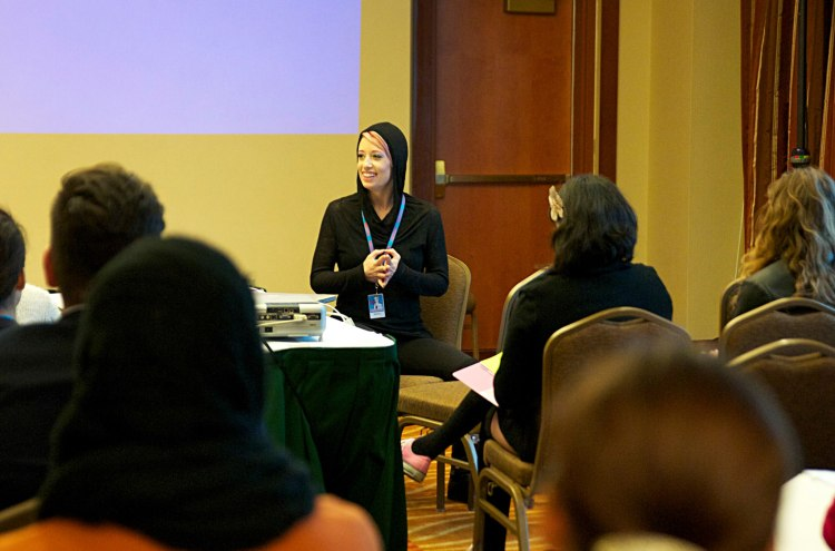 New Orleans burlesque producer and performer Bella Blue discusses PR and marketing at BurlyCon 2015. (Photo by MC Newman)